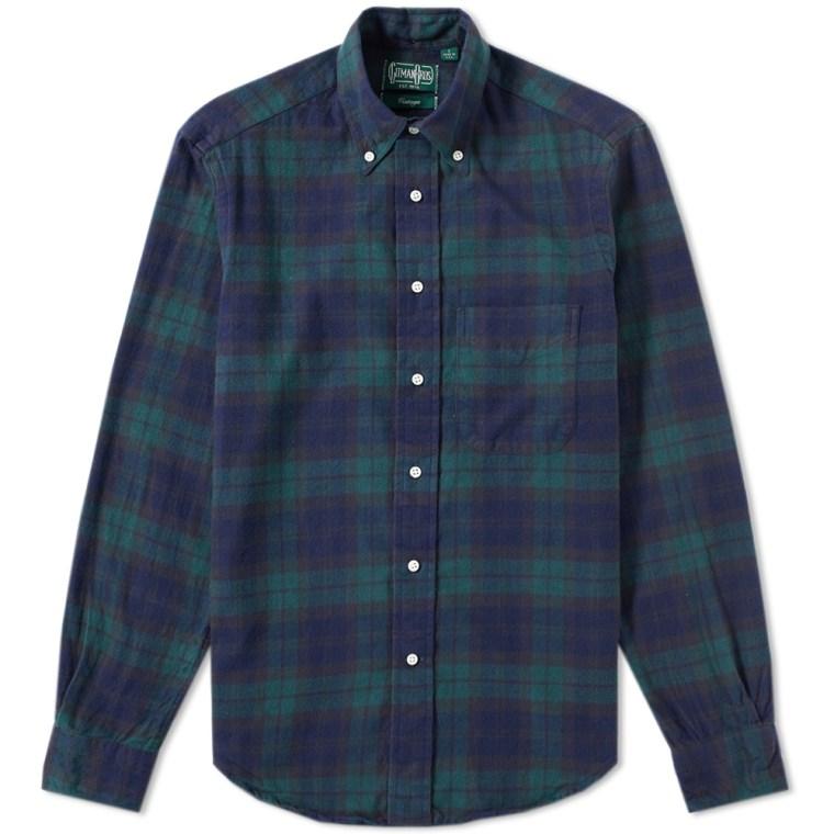 Gitman vintage plaid flannel shirt blackwatch end for Black watch plaid flannel shirt