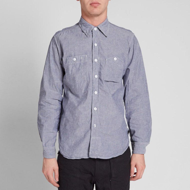 Engineered garments work shirt blue cotton chambray end for Blue cotton work shirts