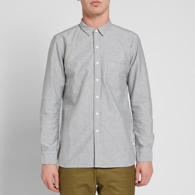 Nonnative button down dweller oxford shirt black end for Black oxford button down shirt