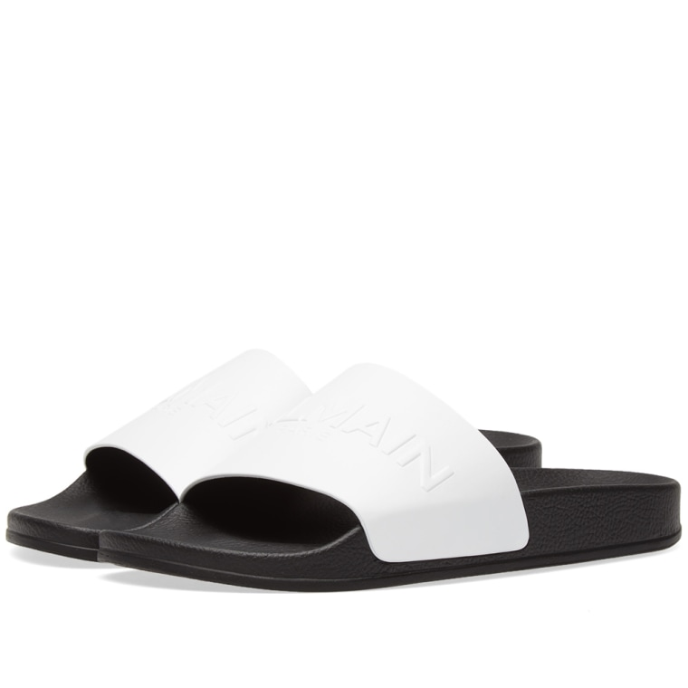 Balmain Black Leather Slides