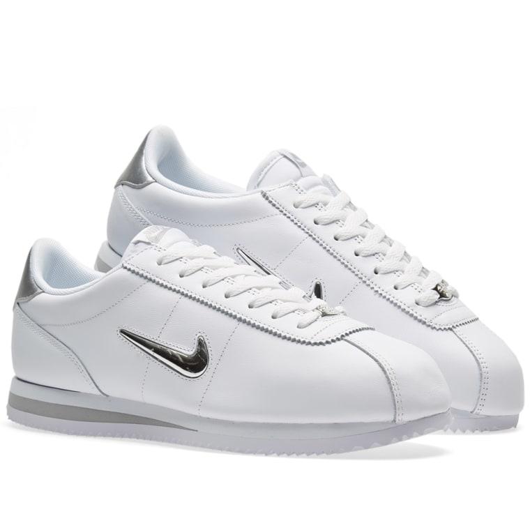 2018 2017 Nike Womens Cortez Jewel White Metallic Silver Shoes Size 10 US 8 5 12 7