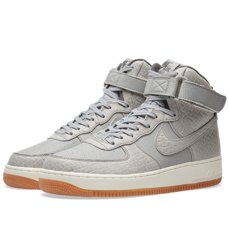 New Nike Women's Air Force 1 High Prem Shoes (654440-008) Wolf Grey/Midnight Fog