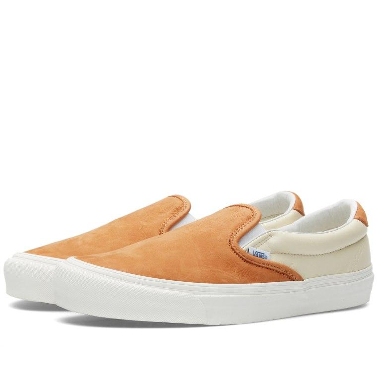 Vans White Brown Slip On 59 Vault Og Lx Premium Asparagus Shops Uk
