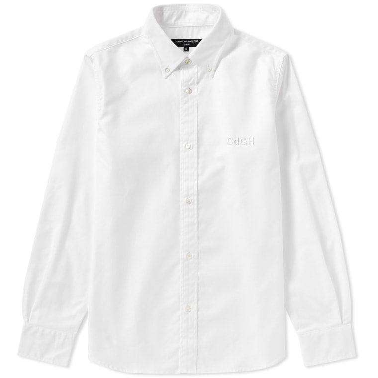 Comme des Garcons Homme Embroidered Logo Oxford Shirt White 1