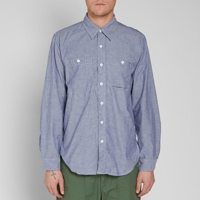 Engineered garments work shirt light blue chambray end for Light blue work shirt
