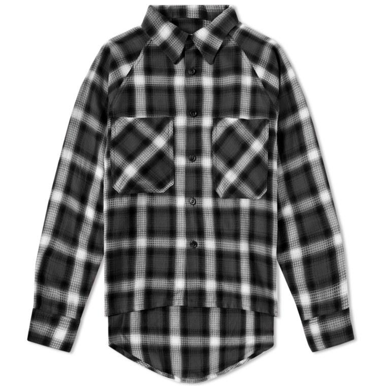 Mr Completely Raglan Flannel Shirt Black White Shadow