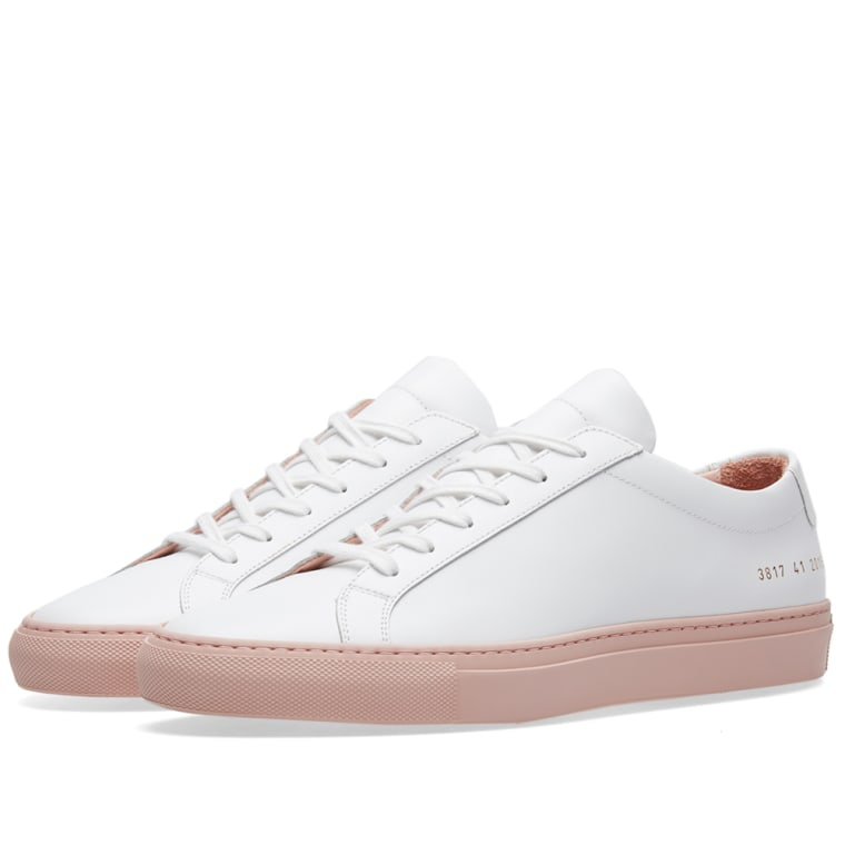 Woman by Common Projects Pink & White Original Achilles Low Premium Sneakers