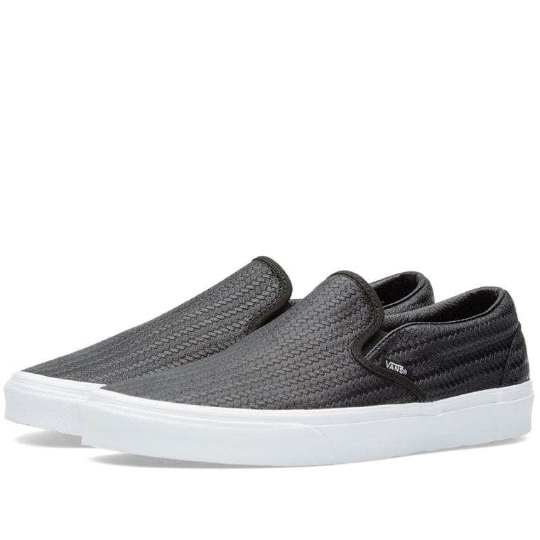 2016 UK Vans Classic SlipOn Embossed Weave Shoes Black for Women Online