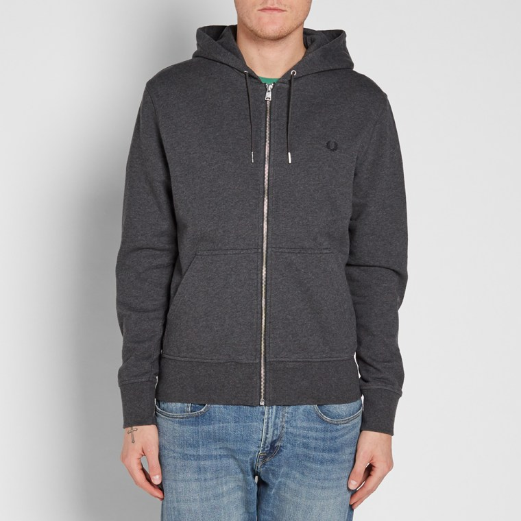 fred perry loopback hooded sweat graphite marl end. Black Bedroom Furniture Sets. Home Design Ideas