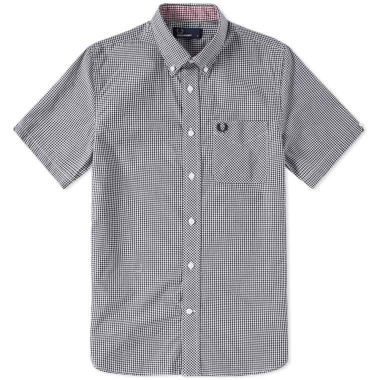 New Cheap Fred Perry Classic Gingham Short Sleeve Shirt Black for Men Online Sale Online