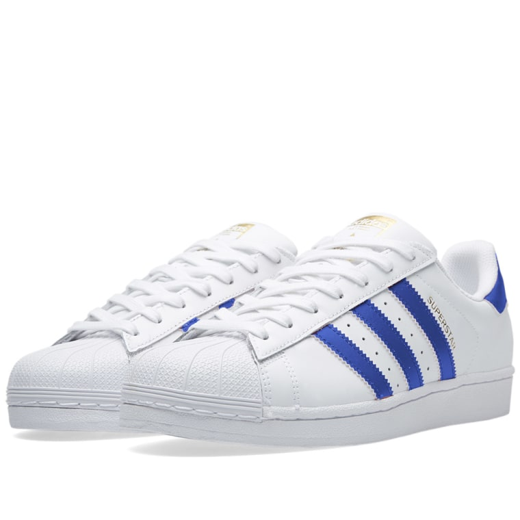 Adidas Youth Superstar Foundation Footwear White Collegiate Navy Leather Trainers 37 1/3 EU M9VdDO1
