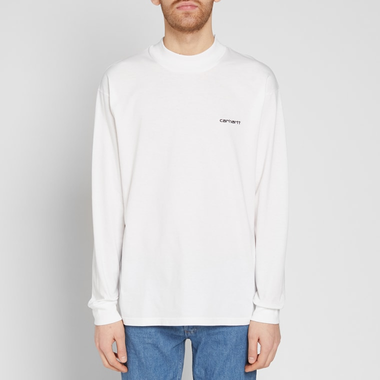 Carhartt long sleeve high neck script tee white black for High end white t shirts