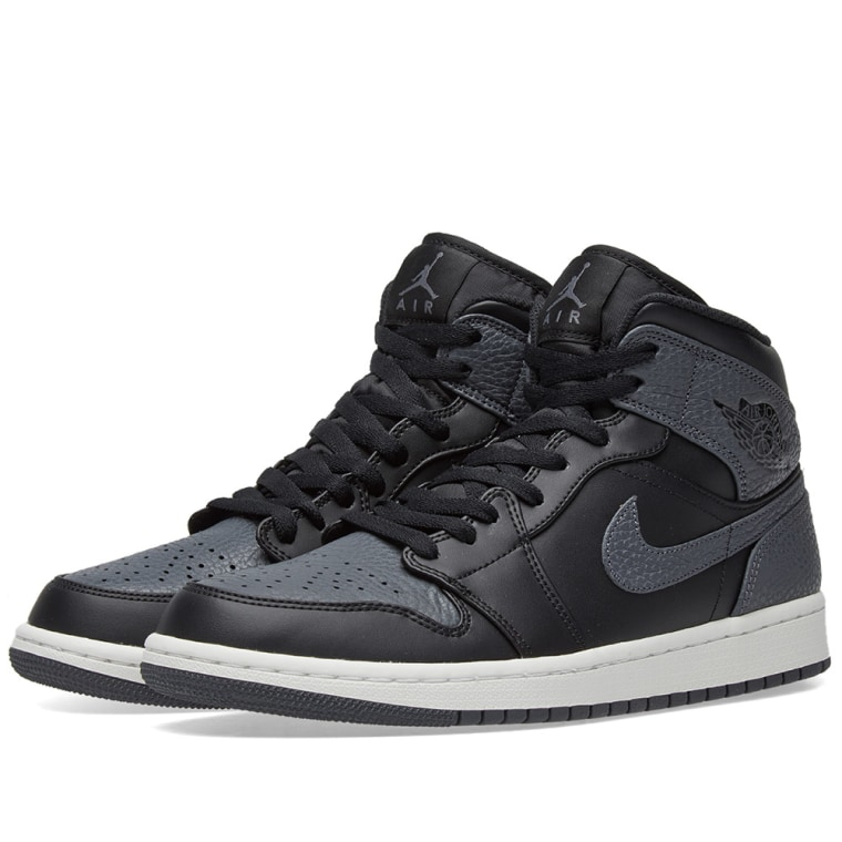 Nike Jordan 1 Mid Black/Grey Size 10 - Fair Condition
