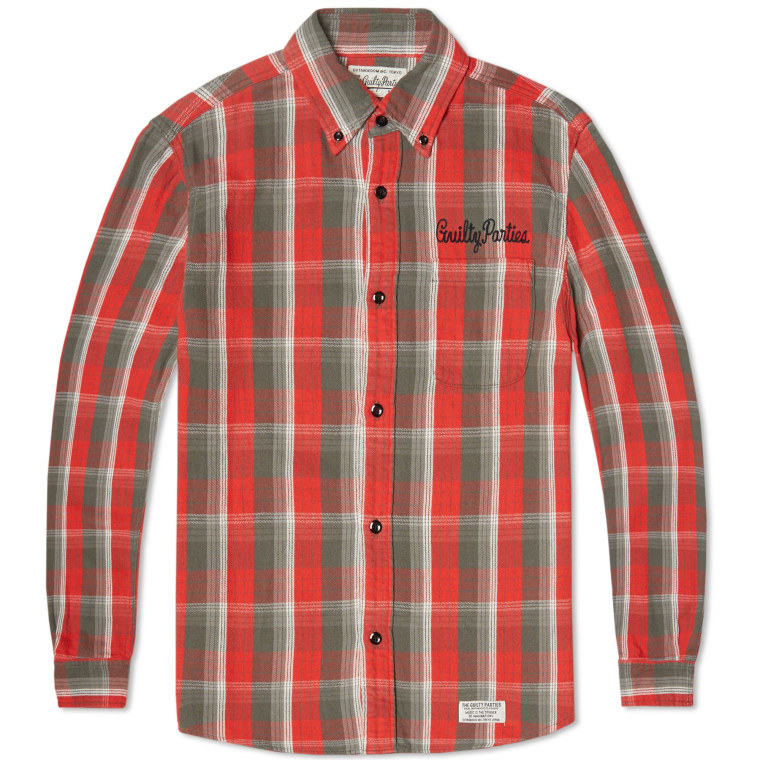 Wacko maria type 2 flannel check shirt red end for Types of flannel shirts