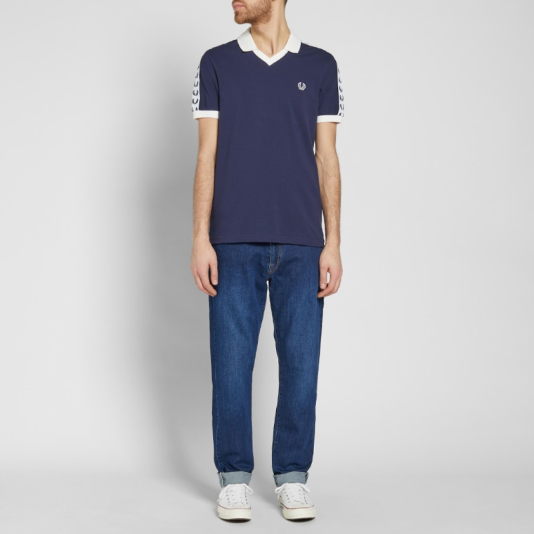 Fred Perry Taped Pique Shirt Carbon Blue