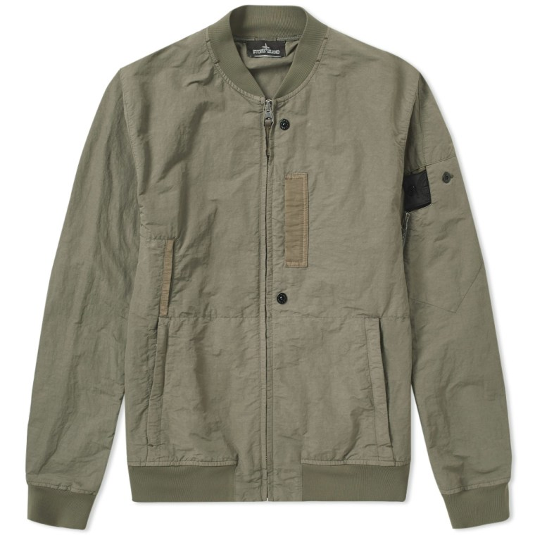 Stone Island Shadow Project Naslan Garment Dyed Bomber Jacket (Olive Green) | END.