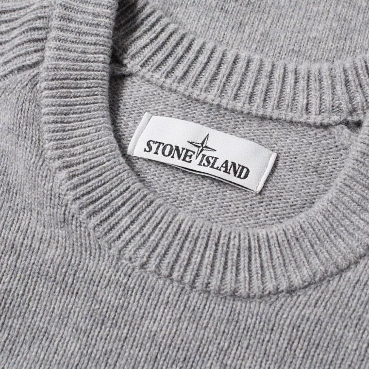Stone Island Lambswool Crew Knit  Pearl Grey  2