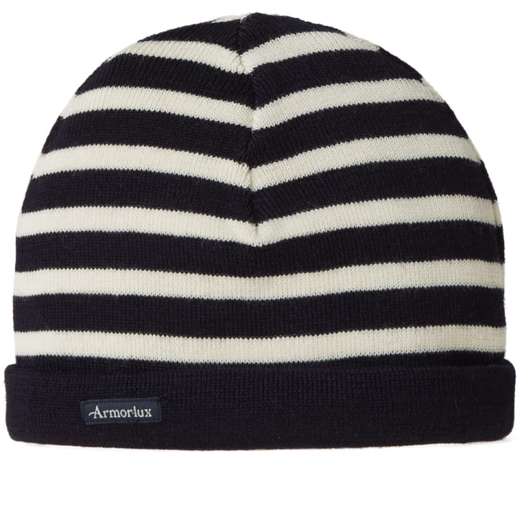 Navy and White Stripe Wool Beanie Armor Lux
