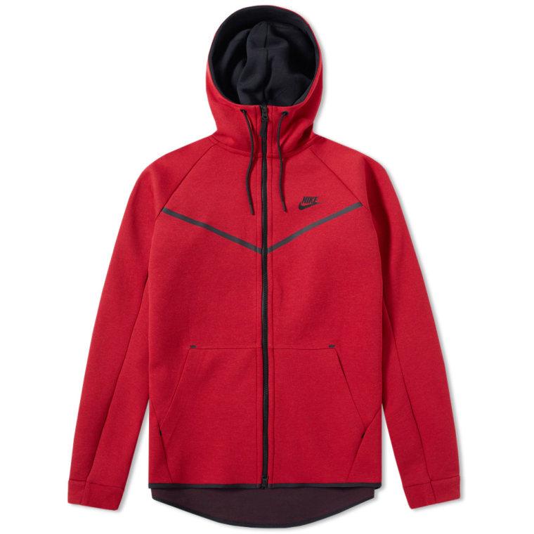 nike tech fleece windrunner men's hoodie red