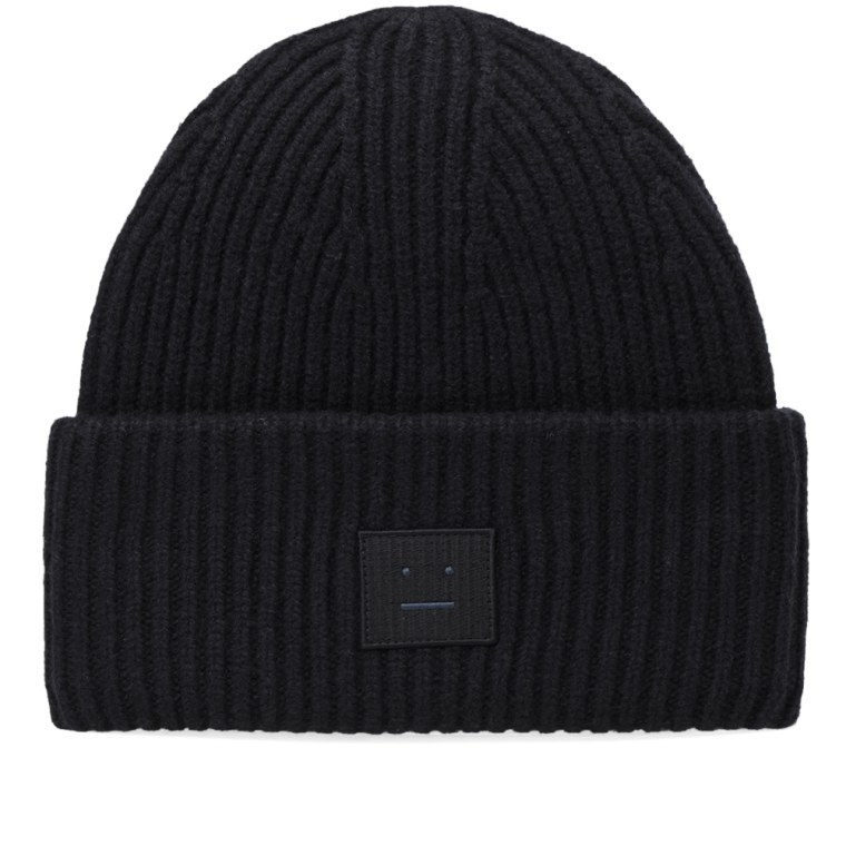 Pansy Face Beanie in Black Acne Studios