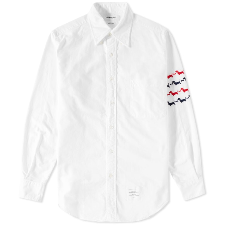 Thom browne hector embroidered arm stripe shirt white for Thom browne white shirt