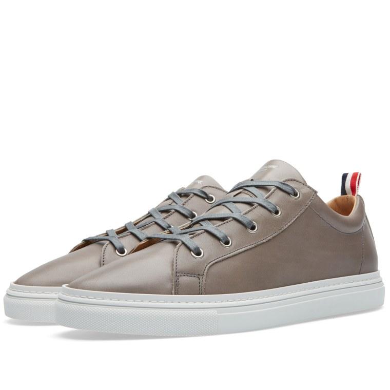 Thom Browne Grosgrain Trim Leather Sneaker Grey