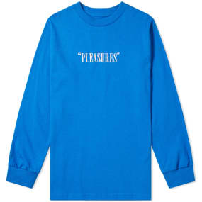 PLEASURES Long Sleeve Core Logo Embroidered Tee