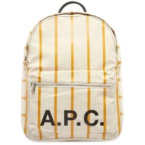 A.P.C. Pinstripe Logo Backpack