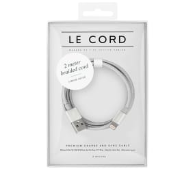 Le Cord Solid Silver Braided 2m Lightning Cable