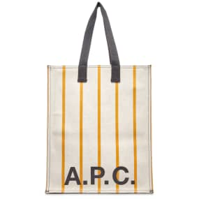 A.P.C. Pinstripe Logo Shopper Bag