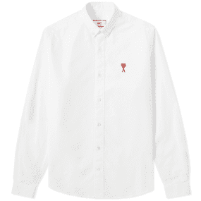 AMI Button Down Medium Heart Logo Oxford Shirt