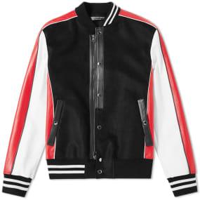 Alexander McQueen Leather Sleeve Varsity Jacket