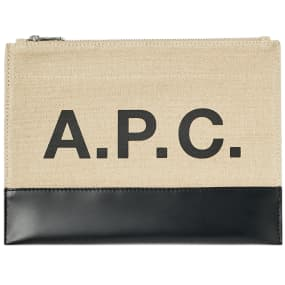 A.P.C. Axel Canvas & Leather Logo Pouch