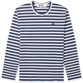 Comme des Garcons Play Little Black Heart Long Sleeve Stripe Tee