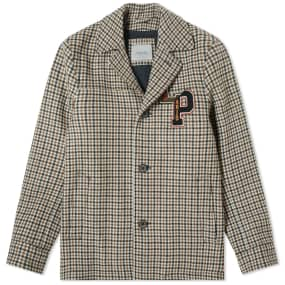 Lanvin Collegiate Patch Check Jacket