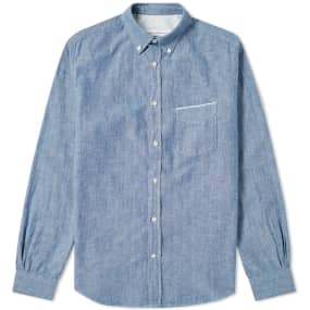 Officine Generale Button Down Japanese Chambray Selvedge Shirt