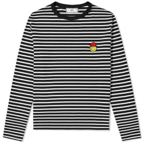AMI Long Sleeve Smiley Stripe Tee