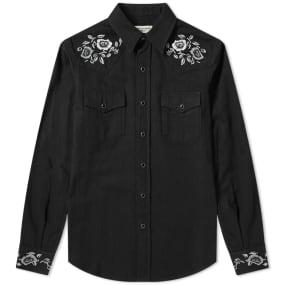 Saint Laurent Floral Embroidered Western Shirt