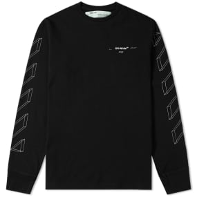 Off White Long Sleeve Diagonal 3 D Lines Tee by End.