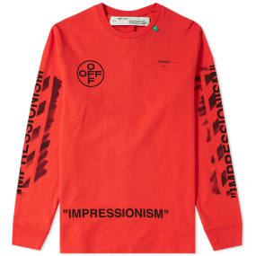 Off-White Long Sleeve Stencil Diagonals Tee