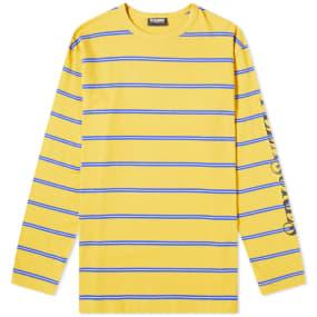 PLEASURES Long Sleeve Stripe Scream Tee