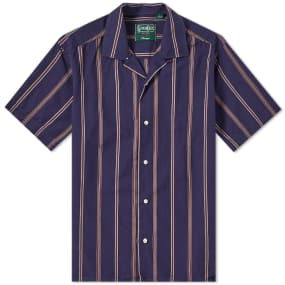 Gitman Vintage Short Sleeve Camp Collar Stripe Shirt