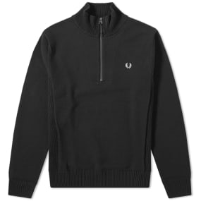 b218ee8aa Shoptagr | Fred Perry Rib Insert Half Zip Knit by Fred Perry