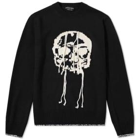 Alexander McQueen Skull Intarsia Fringed Crew Knit
