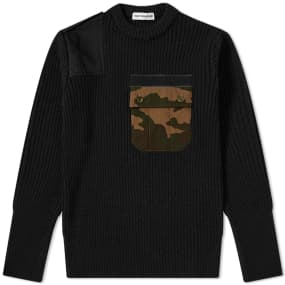 Gosha Rubchinskiy Ribbed Camo Pocket Crew Sweat by End.