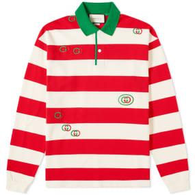 Gucci Long Sleeve Striped Logo Polo