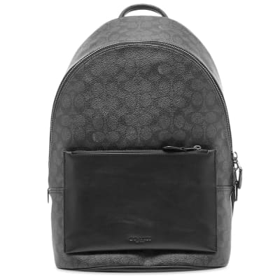 Coach Signature Print Leather Backpack