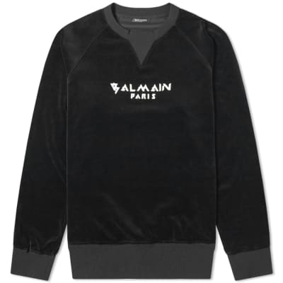 Balmain Paris Velvet Crew Sweat