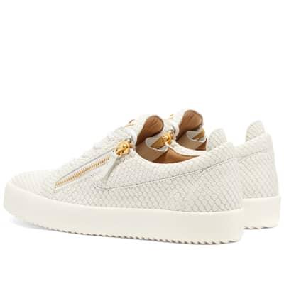 Giuseppe Zanotti Double Zip Python Leather Low Sneaker