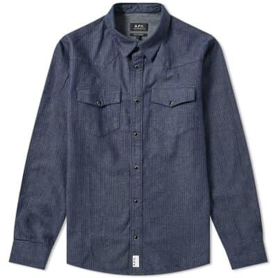 A.P.C. Woody Herringbone Western Shirt